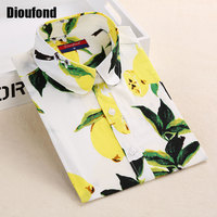 Dioufond Summer Floral Blouse Shirt Women Long Sleeve Tops Cotton Shirts White Navy Blouses Small Flower