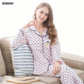 BXMAN Brand 2016 Spring&Autumn Cotton Women Pajamas Long-sleeved Polka Dot Pajamas Homewear for lover Size M~2XL