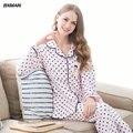 BXMAN Marca 2016 Spring & Autumn Algodão Mulheres Pijama Longo-manga Polka Dot Pijama Homewear para o amante Tamanho M ~ 2XL