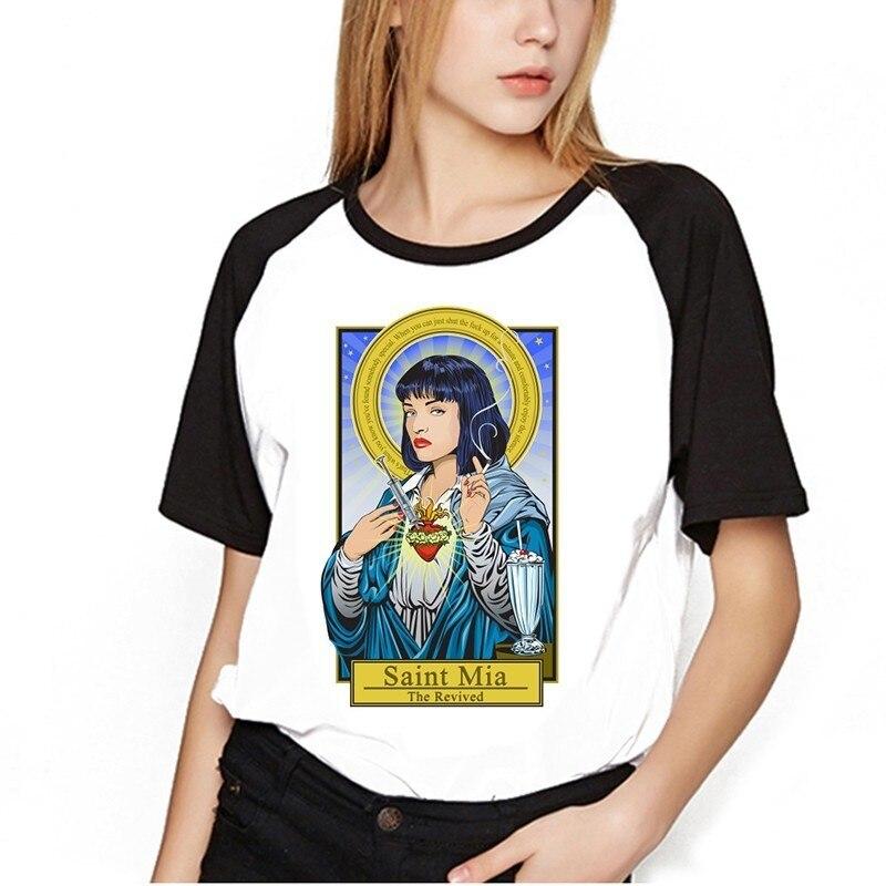 2018   T     Shirt   Female Pulp Fiction Tops Harajuku Mia Wallace Tshirt Kawaii Uma Thurman   T  -  Shirt   Fashion Men Women Girls   Shirt   tee