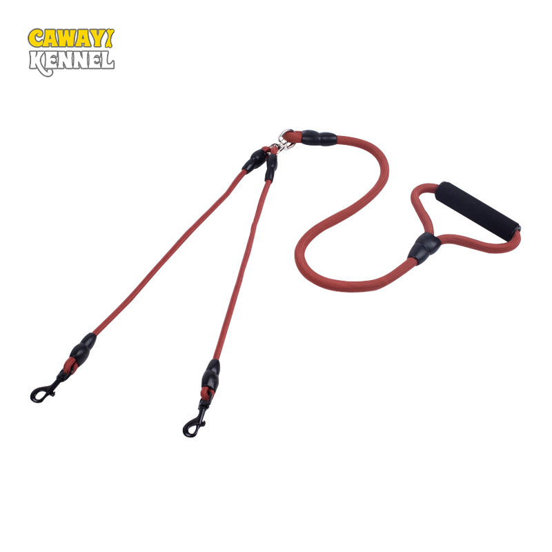 CAWAYI KENNEL Dubbele hondenriemen voor twee honden Nylon dubbele hondenkoppelingen Twin Lead 2 Way Two Honden Walking Leash Veiligheid D1070