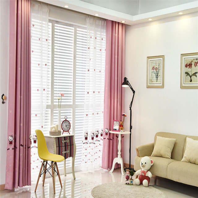 cute curtains for living room bookcase online shop korean luxury princess hellokitty cat cartoon pink placeholder girl children bedroom