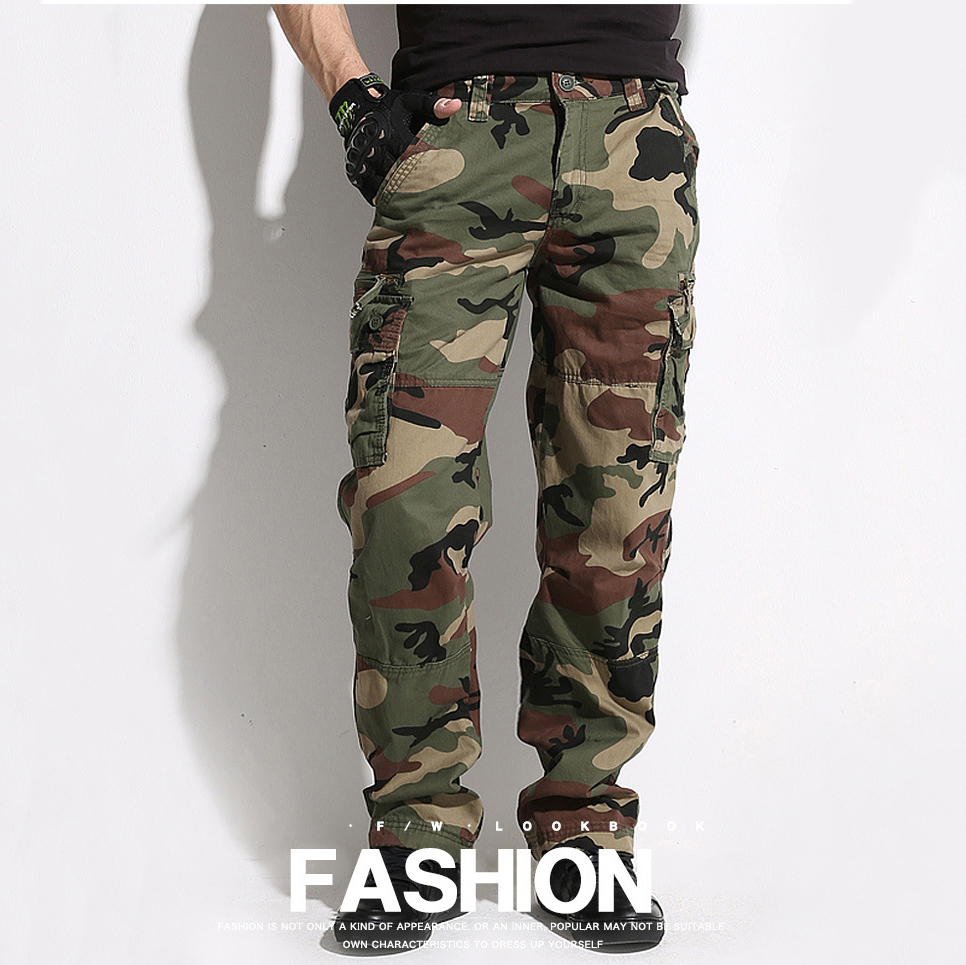 Camouflage Cargo Pants Men Outdoor Hunting Hiking Trousers Cotton Loose Straight Military Multi-Pockets Plus Size Tactical Pants