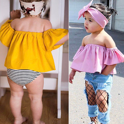 2pcs Toddler Kids Baby Girls Clothes Off Shoulder T-Shirt Tops+Headband Outfits
