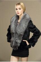 new genuine real natural mink fur coat with big fox fur collar winter waistcoats Free shipping women short plus size