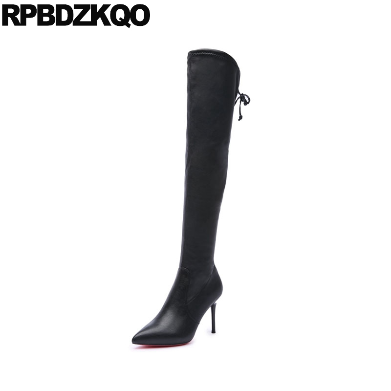 Knee High Fur Ladies Stiletto Stretch Over The Sexy Women Boots Winter 2017 Pointed Toe Black Lace Up Slim Heel Fashion New leopard synthetic suede women pointed toe high stiletto heel boots knee high lace up bootie women platform shoes ladies 2016