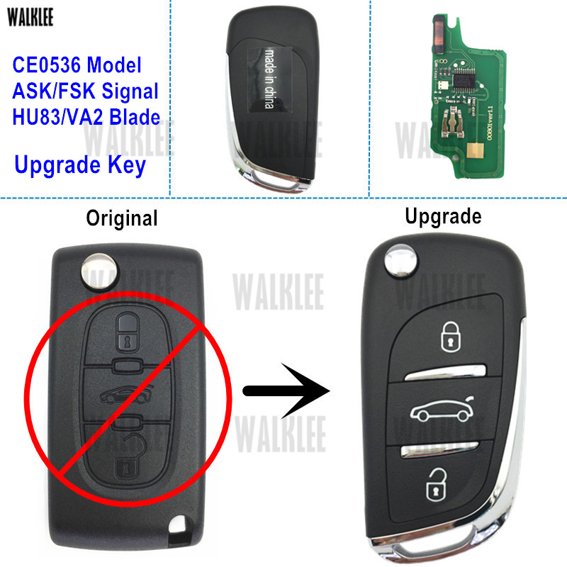 WALKLEE Upgrade Remote Key Suit For Peugeot Car 207 208 307 308 408 Partner Auto Keyless Entry (CE0536 ASK/FSK Signal HU83/VA2)