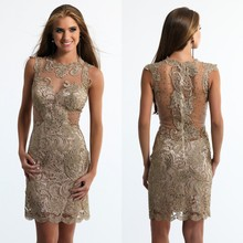 03bf65edc0 Ciemny złoty sukienki koktajlowe 2016 Sheer Neck Lace Sexy krótki Plus  rozmiar Custom Made sukienek