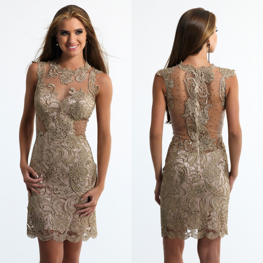 Dark Gold Cocktail Dresses 2016 Sheer Neck Lace Sexy Short