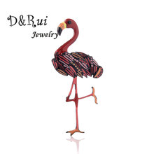 Cute Enamel Flamingo Brooches Zinc Alloy Animal Bird Brooch Vintage Fashion Women Dress Coat Accessories 2019 New Design Jewelry creativity fashion animal alloy coat cartoon brooch