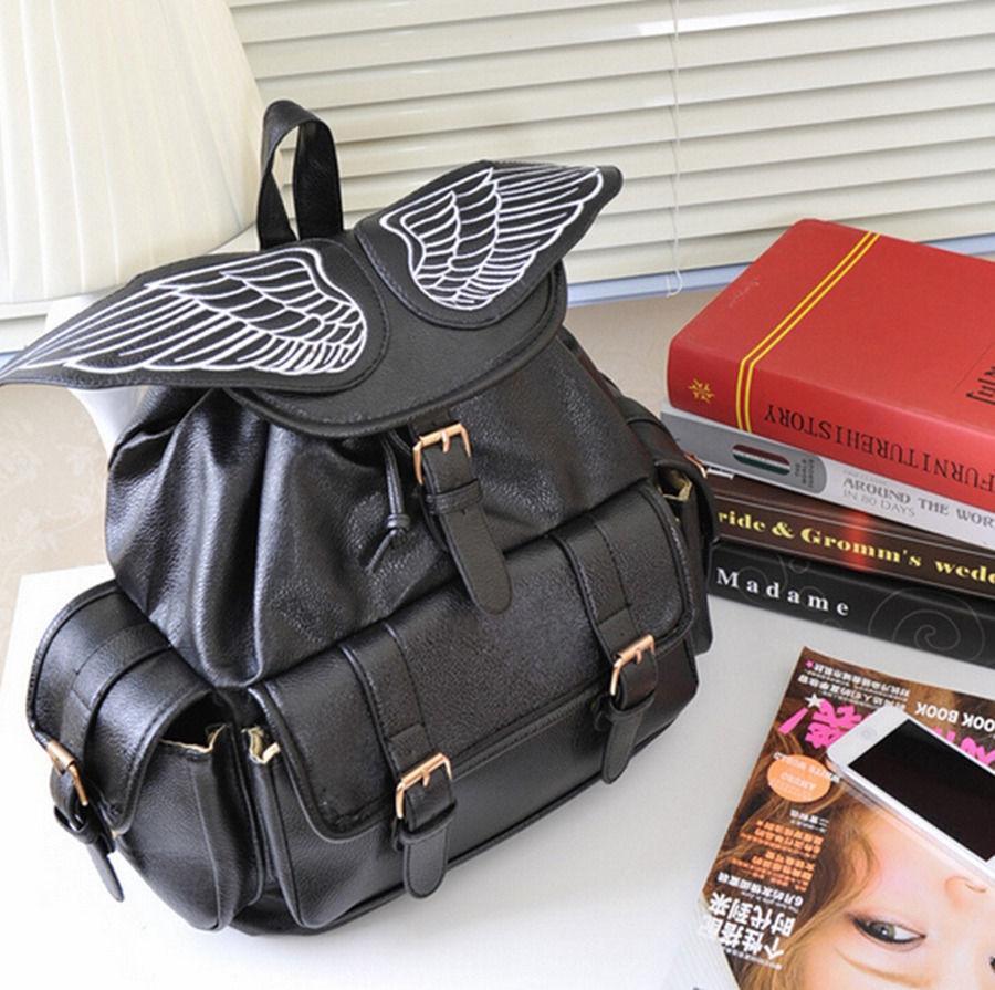 Stachel Purse Bag Bookbags Women Angel Wings Backpack travel bag Korea Japan Emo