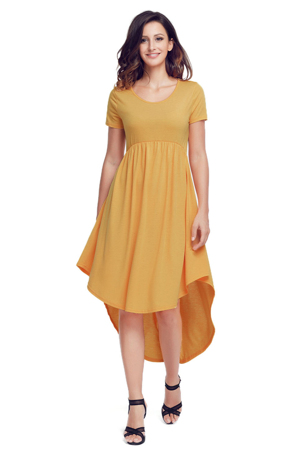 New Summer Style Women Beach Club lady bohemian Elegant Jersey Yellow Short Sleeve High Low Pleated Casual Swing Dress 220045-7