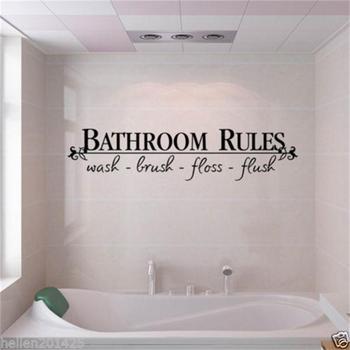 Bathroom rules door sign vinyl quo