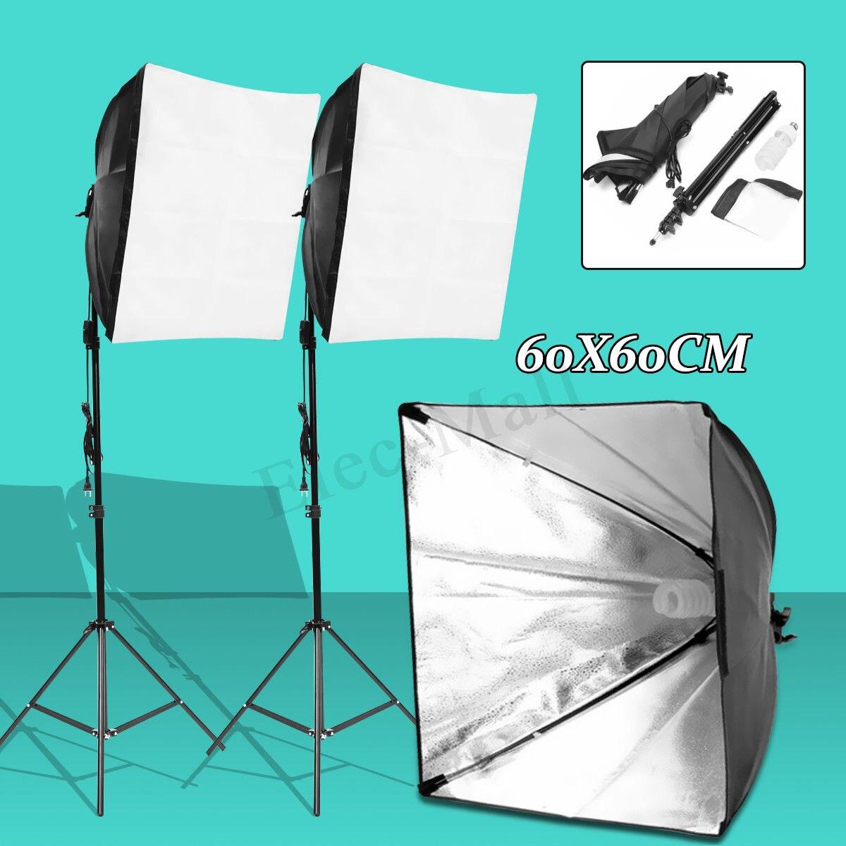 Kit de photographie vidéo Studio Photo universel Kit d'éclairage continu Softbox + support lumineux + ampoule