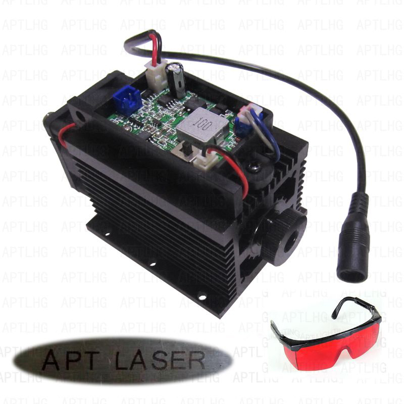 DIY CNC Cutte Focusable TTL PWM Analog 445nm 10W 10000mW blue laser head module Engrave machine