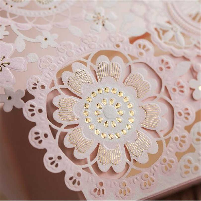 Caixa de doces romântico casamento evento festa suprimentos decoração acessórios flor corte a laser rendas luxo favores presentes caixa para convidado