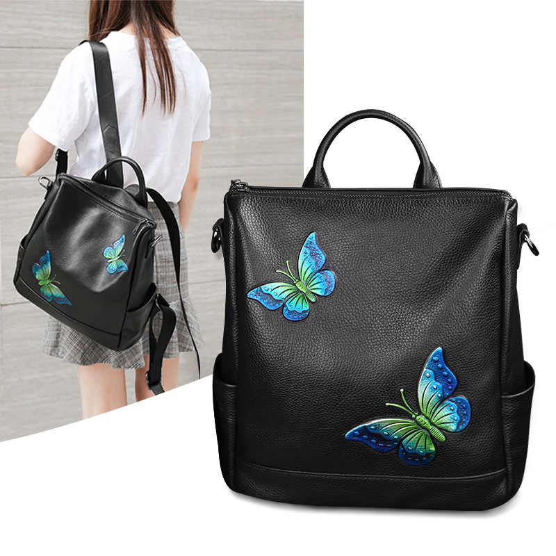 Backpack Women Genuine Leather Vintage Butterfly Printe 2017 Travel School Bag For Teenage Girls Brand Ladies Small Backpacks 2017 new embroidery butterfly women backpack school bags for girls brand shoulder bag fashion pu leather ladies travel backpacks