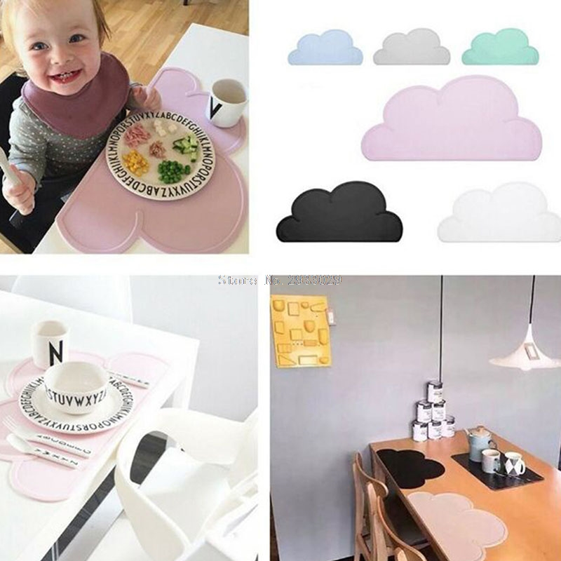 Baby Kids Silicone Cloud Placemat Table Mat Food Mats Dining Table Placemats Solid Feeding Dishes -B116 woven vinyl non slip insulation placemat washable table mats