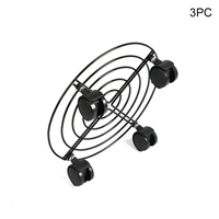 Pack od 3, Sturdy Black Round Plant Caddy Metal Flower Pot Stand with Omnidirectional Wheels for Moving Heavy Pots
