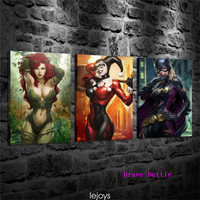 Harley Quinn Poison Ivy Super Hero 3 Pieces Canvas Painting Print Living Room Home Decor Modern Wall Art Oil Painting