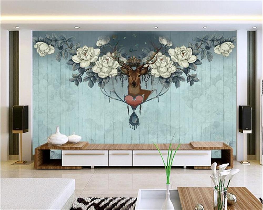 Beibehang Custom Large Wallpapers Hand Painted Giraffe Deer Head 3D Living Room Bedroom Background Wallpaper For Walls 3 D