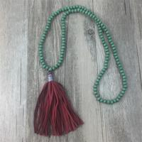 Long Bead Tassel Necklace Wood Beads Tassles Necklace Yoga Necklace Ladies Bohemian Chunky Necklace