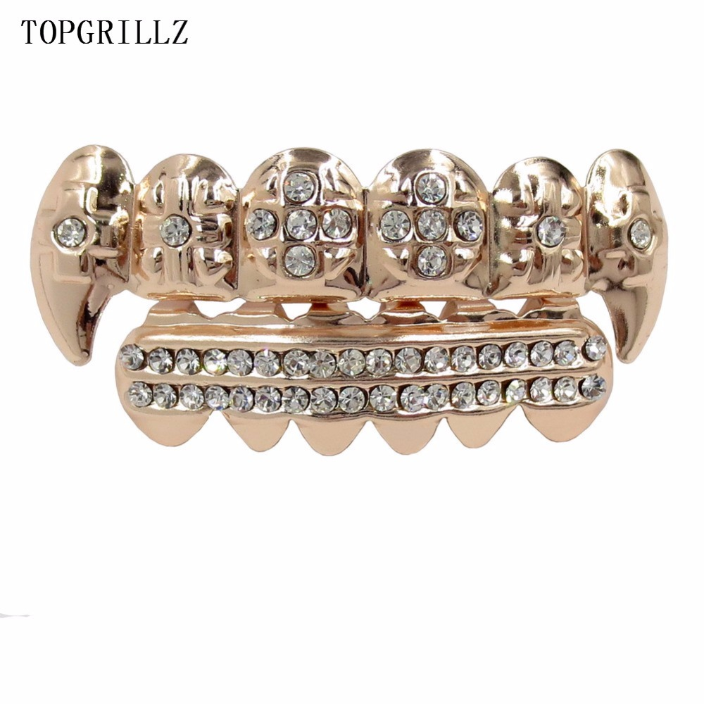 TOPGRILLZ Real Rose Gold Color Plated ICED OUT CZ Teeth GRILLZ Cross Top & Bottom Tooth Caps Hip Hop Bling Golden Grills