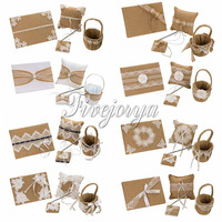 4Pcs/Set 10style Burlap Hessian Linen Lace Vintage Wedding Ceremony Guest Book Pen holder Ring Pillow Flower Basket Bridal Decor