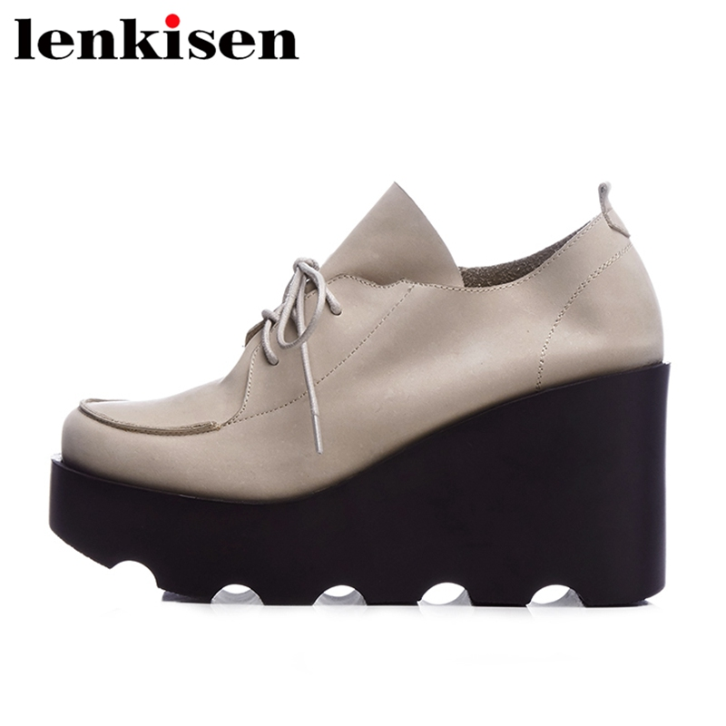 Lenkisen 2018 round toe lace up soft leather platform brand spring causal shoes wedge runway office lady elegant women pumps L23 nayiduyun women genuine leather wedge high heel pumps platform creepers round toe slip on casual shoes boots wedge sneakers