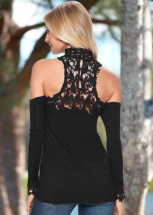 2018 Европа и Америка хит продаж Горячая Женская одежда длинный рукав утечки плеча кружева лоскутное водолазка футболка Джокер пальто