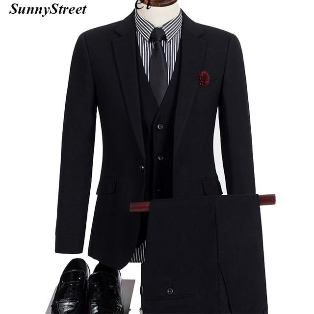 31bf6c4a88a Men s Business Suit High Quality Jacket Vest Pant 3 Piece set Tailor Blazer  in Colour Black Navy Grey