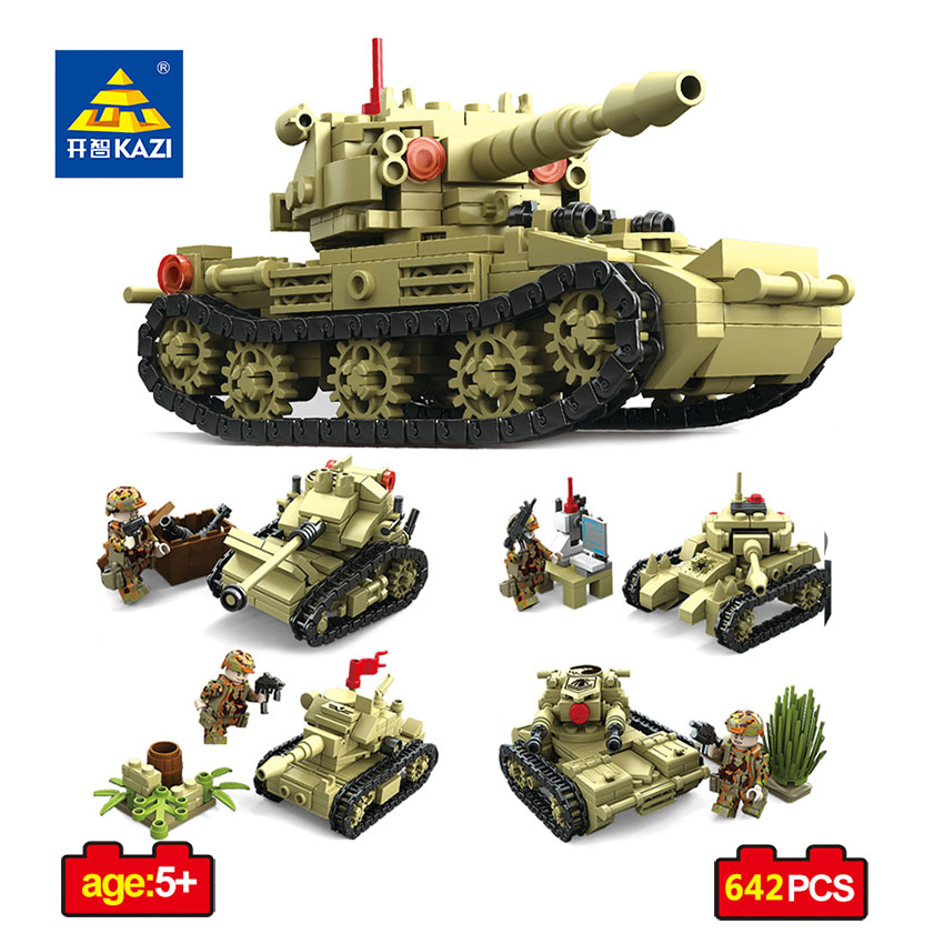 KAZI Toy Army Building Blocks Compatible Legoed City DIY 4 Style World War Tank SK105 Weapon Bricks Educational Toy For Children kazi military building blocks diy 16 in 1 world war weapons german tank airplane army bricks toys sets educational toy for kids