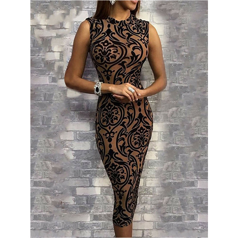 Womens Elegant Dress Summer 2019 Vintage Print Evening Night Party Dress Fashion Ladies Bodycon Midi Dress Sleeveless Clothes