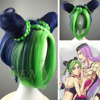 JoJo's Bizarre Adventure Golden Wind Cosplay Wig Jolyne Cujoh Kujo Green Buns Braids JoJo no Kimyou na Bouken Synthetic Hair