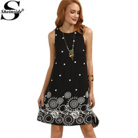 Sheinside Ladies Vintage Summer Black Polka Dot Print Straight Dresses Cute Women Crew Neck Sleeveless Mini
