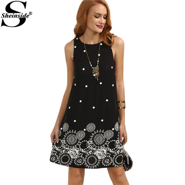 Sheinside Ladies Vintage Boho Summer Dress Black Polka Dot Print Straight Dresses Cute Women Crew Neck Sleeveless Mini Dress
