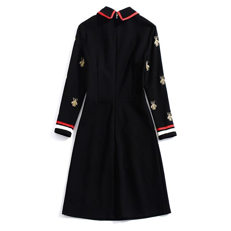 Manches Robe Pour Broderie D'hiver Noir À Qualité Longues Top Piste De Femmes Bloc 2018 Mode Designers Couleur Awaq5v5t