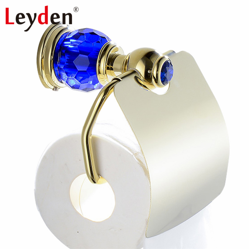 Leyden Luxury Blue Crystal Toilet Paper Holder Brass Gold Roll Holder Wall Mounted Toilet Tissue Holder Bathroom Accessories polished gold solid brass toilet paper holder tissue box luxury high quality wall mounted roll holder toilet accessories sets t1