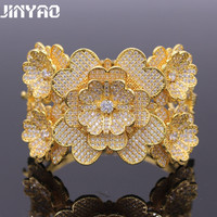 JINYAO Gorgeous Jewelry For Women Yellow Gold Color Cubic Zircon Crystal Flowers Charm Bracelets Bangles Wedding
