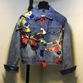 2016 Мода Бабочка Вышивка Женщин Джинсовые Пальто Vintage Fashion Design Топы Для Женщин Пальто Куртки Casaco Feminino Пиджаки