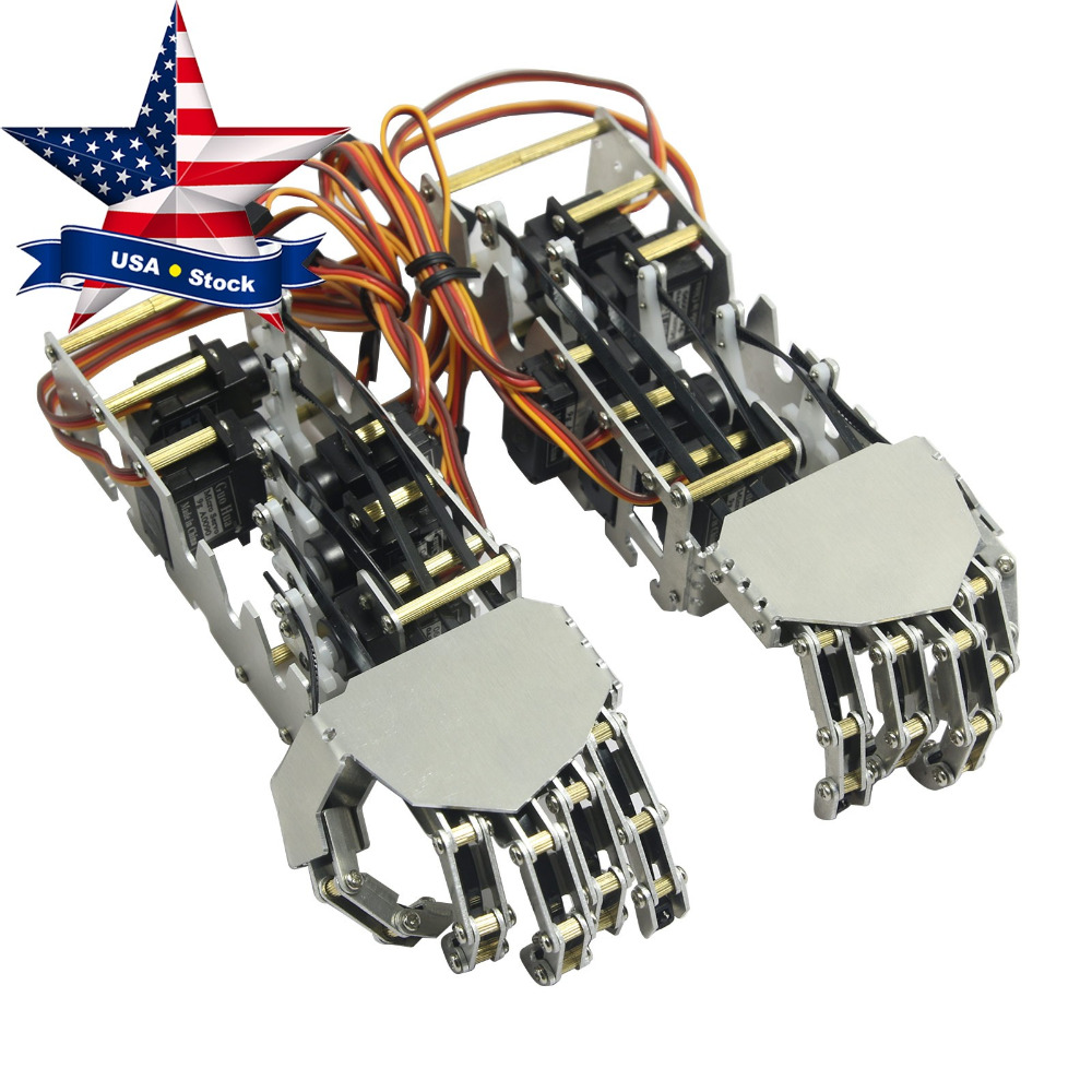 Humanoid Five Fingers 5DOF Metal Manipulator Arm Left & Right Hand with GS9018 Servos for Robot DIY USA Stock