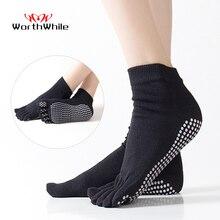 WorthWhile 1 Pair Women Sports Yoga Socks Five Finger Slipper Anti Slip Lady Pilates Ballet Heel Professional Dance Protector