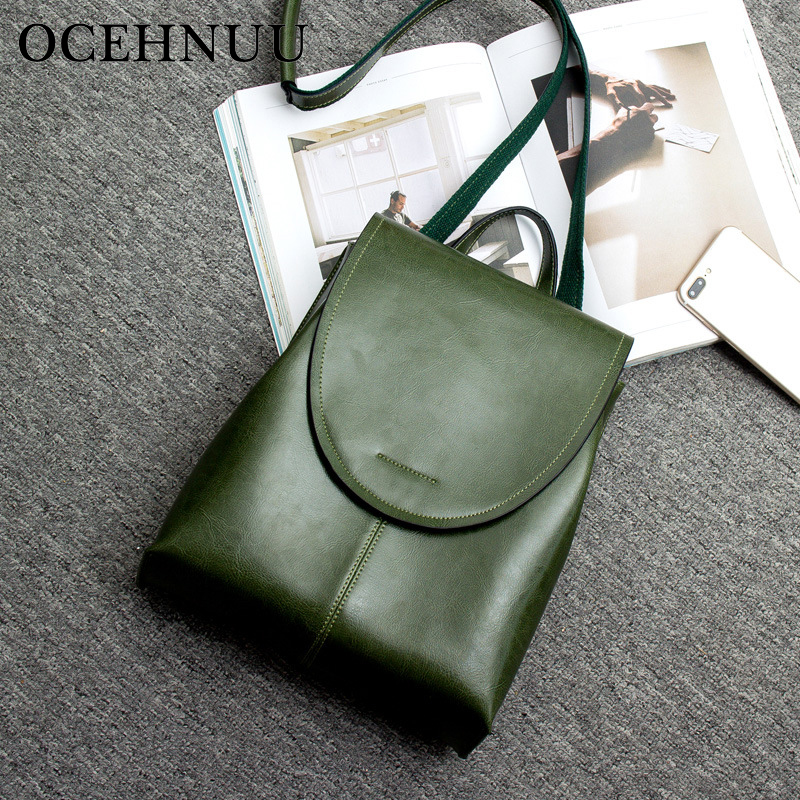 OCEHNUU New Designer Women Backpack Large Capacity Shoulder Bag Genuine Leather Fashion Zipper Ladies Backpack School Bags Solid недорго, оригинальная цена