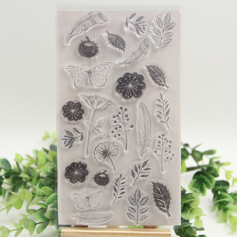 Flower Butterfly Transparent Clear Silicone Stamps for DIY Scrapbooking/Card Making/Kids Christmas Fun Decoration Supplies kscraft butterfly and insects transparent clear silicone stamps for diy scrapbooking card making kids fun decoration supplies