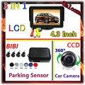 360 градусов CCD камеры автомобиля парковка и 4.3 Дюймов TFT ЦВЕТНОЙ Монитор 4 датчика де estacionamento парктроник Помощи При Парковке