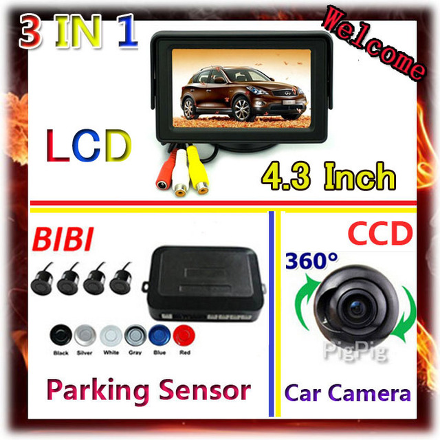 360 degree CCD car camera parking & 4.3 Inch TFT Color Monitor For 4 sensor de estacionamento parktronic Parking Assistance