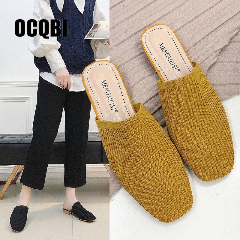 2019 Brand Mules Elastic Cloth Round Toe Flats Heels Elastic Band Casual Shoes Women Yellow Black Slip On Slides 2019 Brand Mules Elastic Cloth Round Toe Flats Heels Elastic Band Casual Shoes Women Yellow Black Slip On Slides