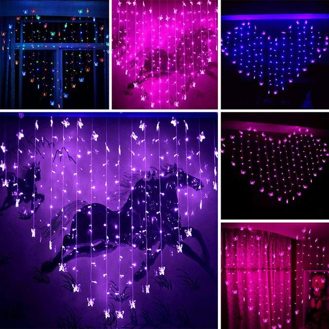 2017 New 2*1.5M 128 LED Heart Shape Butterfly LED Light Wedding Party  Lantern
