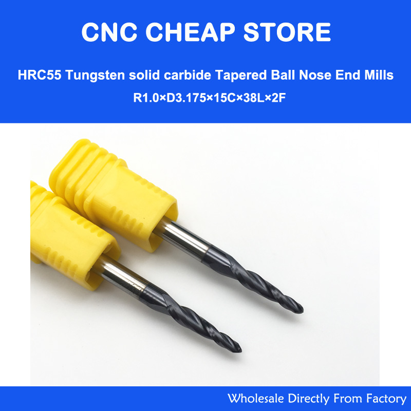 """Купить с кэшбэком 2pcs R0.25/R0.5/R0.75/R1 HRC55 Taper Ball Nose End Mill Tapered cone milling cutter CNC woodworking router bit 3.175mm 1/8"""" SHK"""