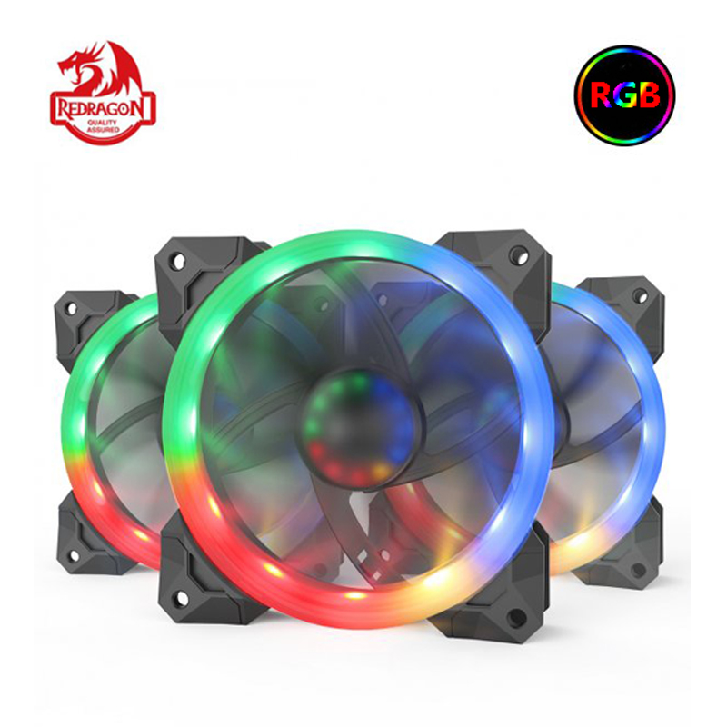 Redragon 3 Pack Cooling Fan 120mm GC-F008 CPU Cooler Case Radiator RGB LED Quiet High Airflow Heatsink Gadget Inter Thermal Pads